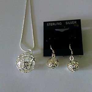 A20- 925 sterling silver necklace and earrings set